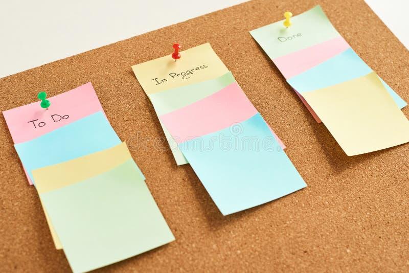 Autocollants de papier colorés avec des mots à faire, en cours et faire sur un fond de panneau de liège Concept de planification photos libres de droits