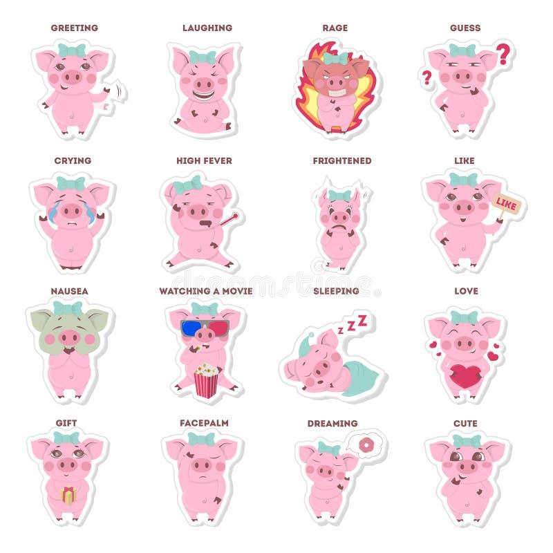 Autocollants de porcs réglés illustration libre de droits