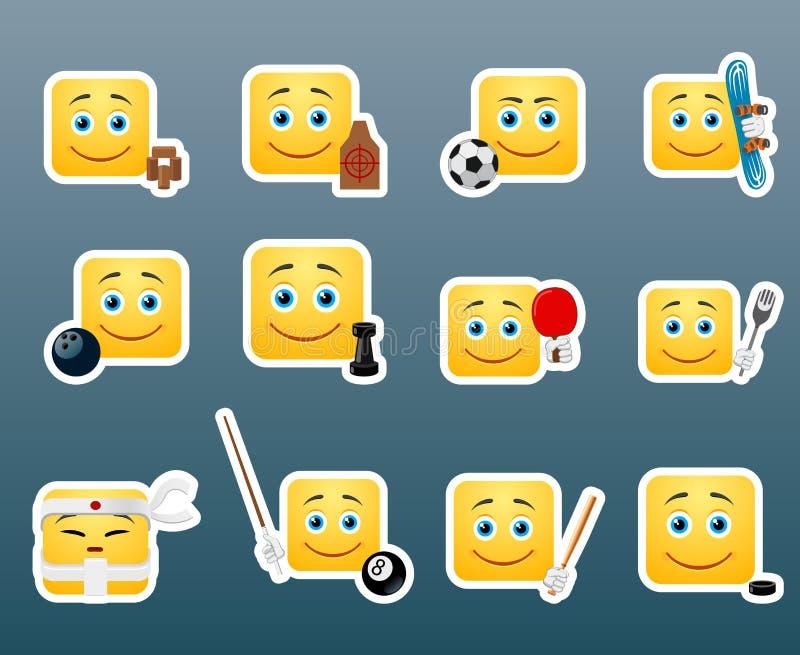 Autocollants de sourire de sport réglés illustration libre de droits