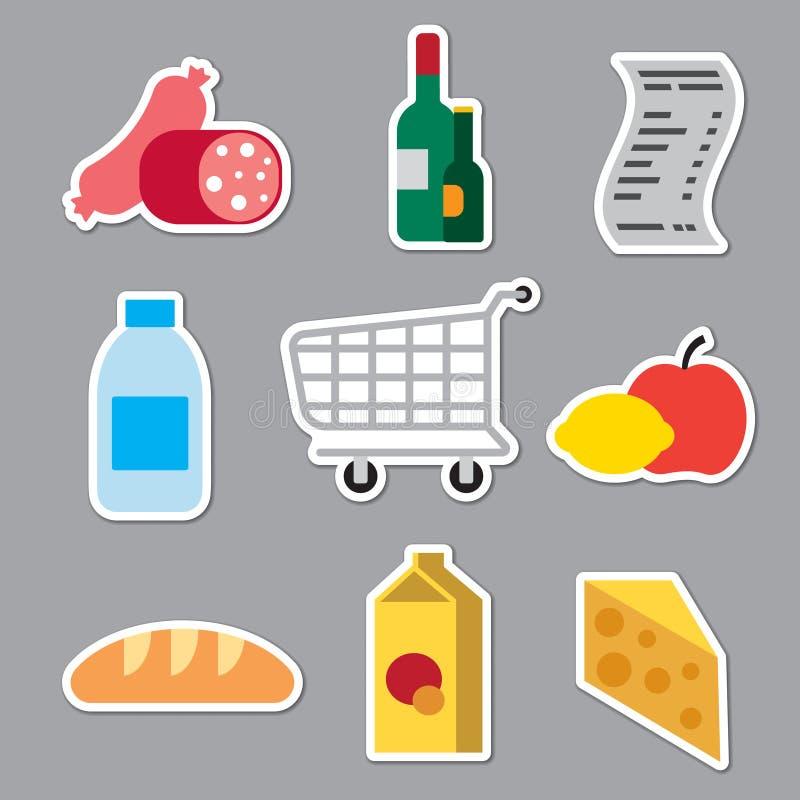 Autocollants de supermarché d'épicerie illustration stock