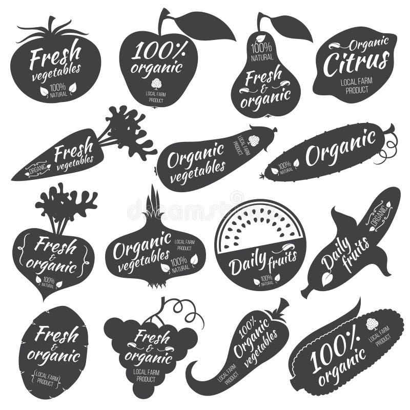 Autocollants de vecteur de fruits et légumes, labels, logos illustration libre de droits