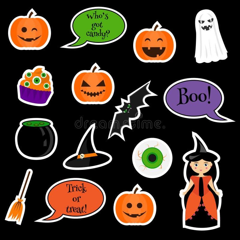 Autocollants de vecteur de Halloween d'isolement sur le noir illustration libre de droits