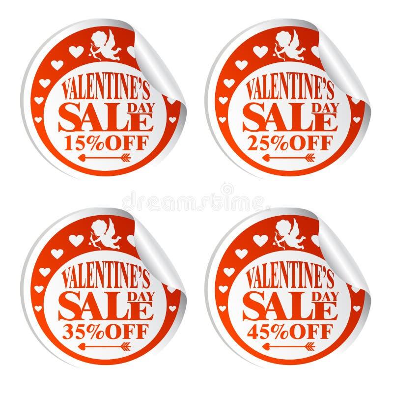 Autocollants de vente de Saint-Valentin avec le cupidon 15,25,35,45 pour cent  illustration stock