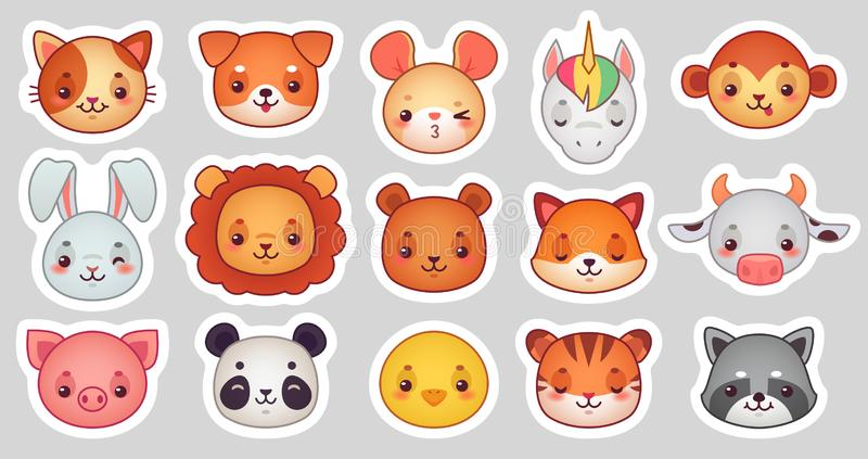 Autocollants de visage d'animaux Visages animaux mignons, autocollant d'emoji de kawaii ou avatar drôle Ensemble d'illustration d illustration stock