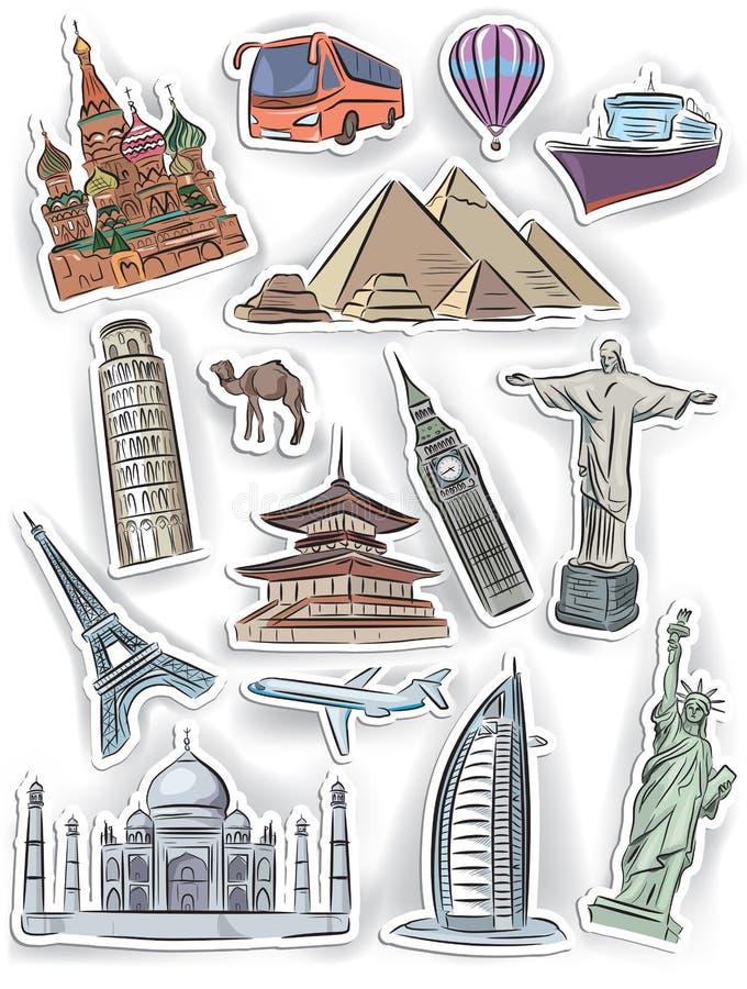 Autocollants de voyage et de vacances réglés illustration libre de droits