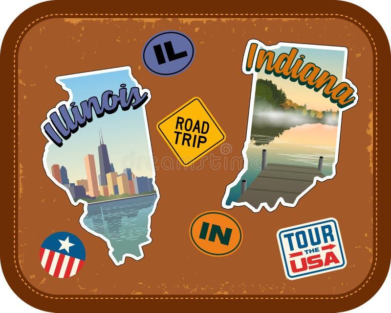 Autocollants de voyage de l'Illinois et de l'Indiana avec les attractions scéniques illustration stock