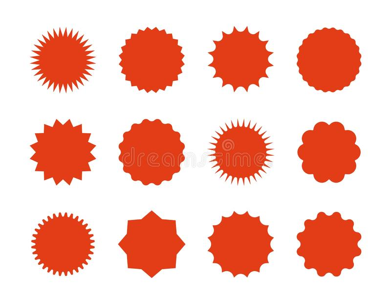 Autocollants des prix de Starburst Bannières de vente d'étoile, signes rouges d'explosion, bulles de la parole de rayon de soleil illustration stock