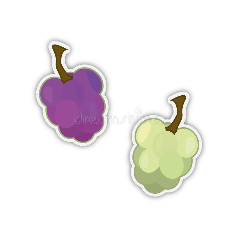 Autocollants des raisins noirs et blancs illustration libre de droits