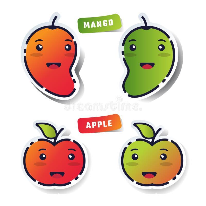 Autocollants drôles de fruit illustration stock
