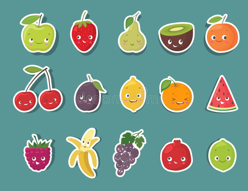 Download Autocollants Drôles De Caractère De Fruit Réglés Illustration De Vecteur De Dessin Animé Illustration de Vecteur - Illustration du kiwi, poire: 77151530