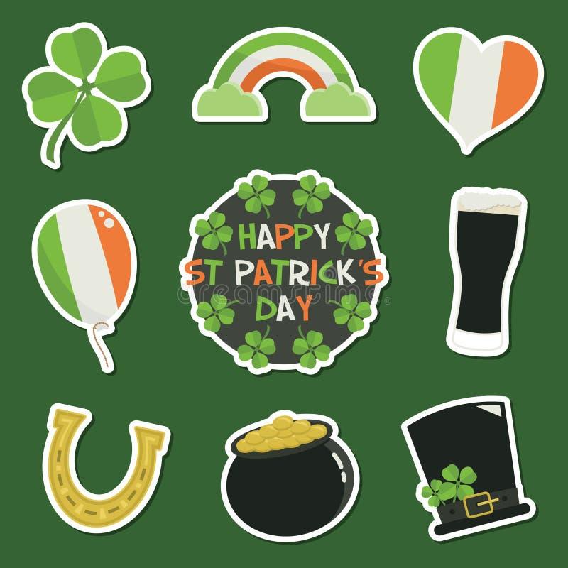 Autocollants du jour de St Patrick illustration stock