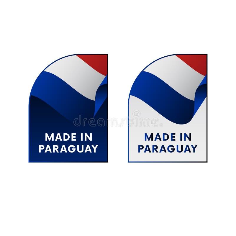 Autocollants fabriqués au Paraguay Vecteur illustration de vecteur