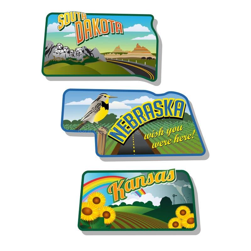 Autocollants le Dakota du Sud Nébraska le Kansas de bagage illustration libre de droits
