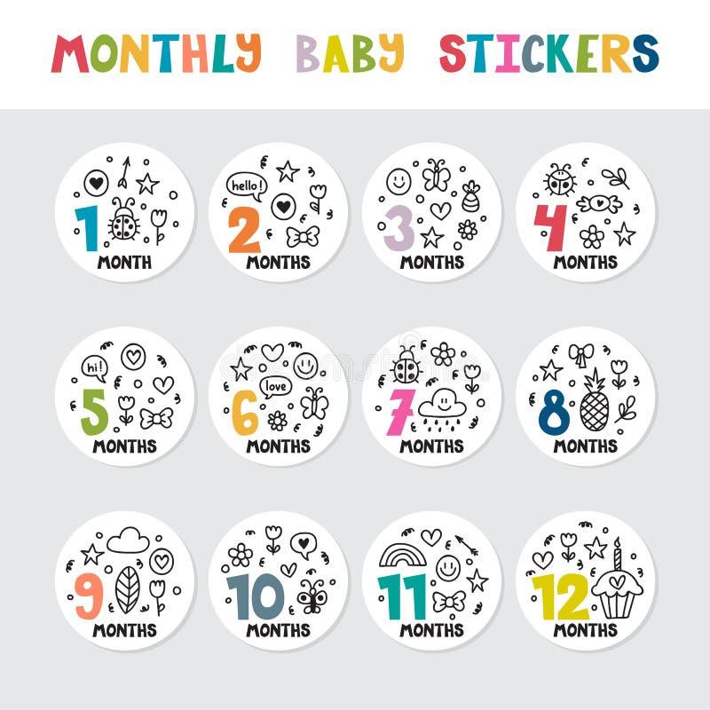 Autocollants mensuels de bébé pour de petites filles et garçons illustration de vecteur