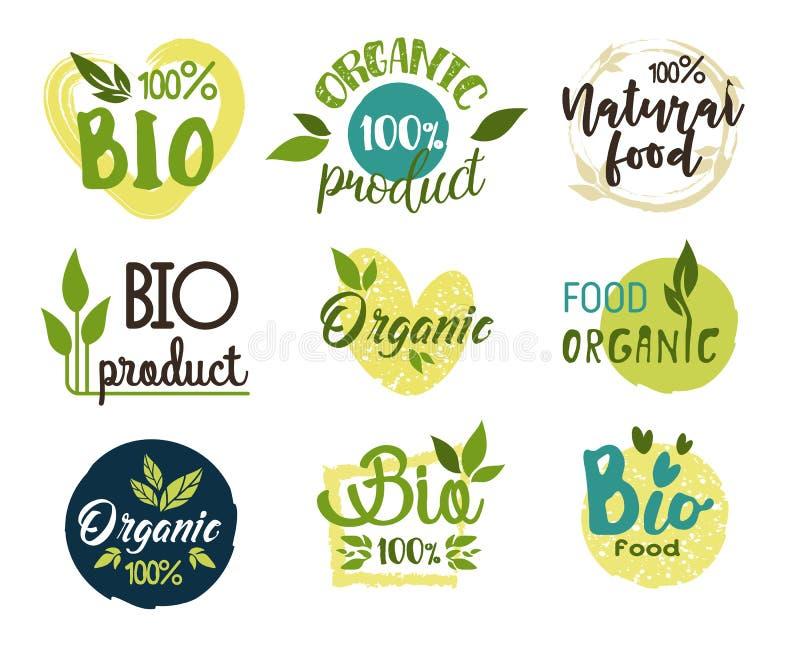 Autocollants naturels et organiques, d'eco et de nourriture fraîche illustration libre de droits