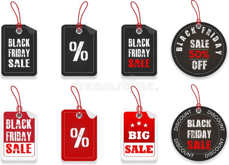 Autocollants noirs des prix de vendredi illustration libre de droits