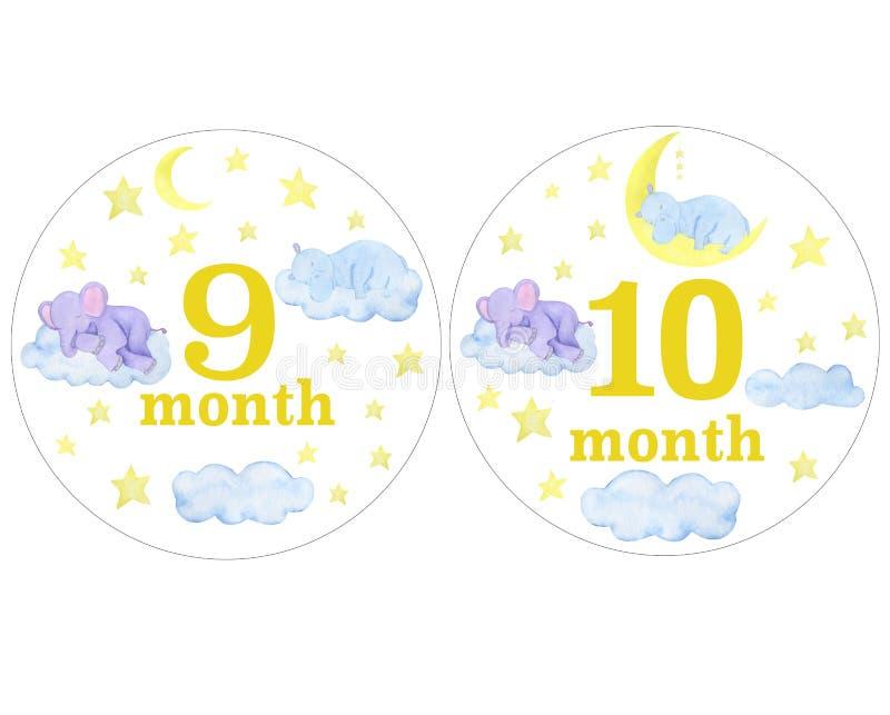 Autocollants nouveau-nés de bébé pour des autocollants de conception de séance photo d'illustrations d'aquarelle de mois scrapboo illustration de vecteur