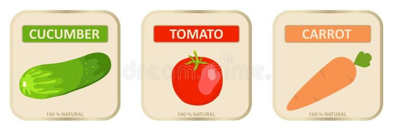 Autocollants pour le jus des légumes, label pour le jus illustration de vecteur