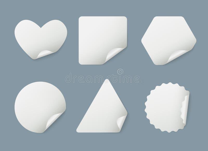 Autocollants réalistes Autocollants enveloppés de repères de livre blanc avec le calibre de vecteur d'ombres illustration stock