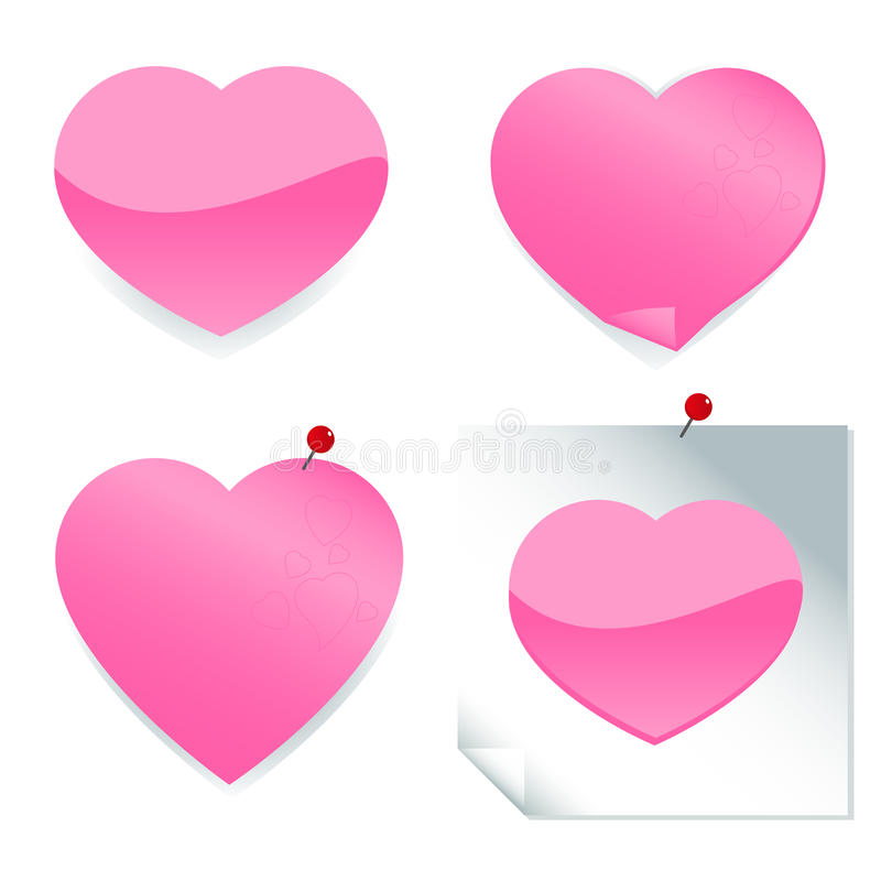 Autocollants roses de coeur illustration libre de droits