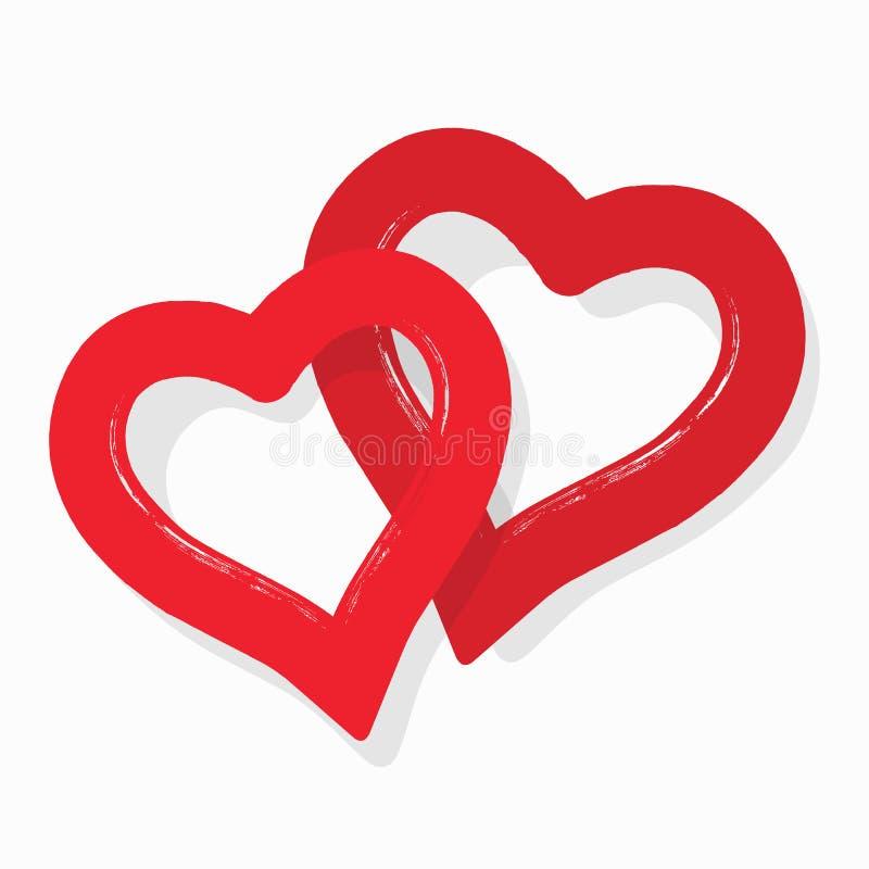 Autocollants rouges abstraits mignons d'icône de coeurs de couples sur le fond blanc illustration stock