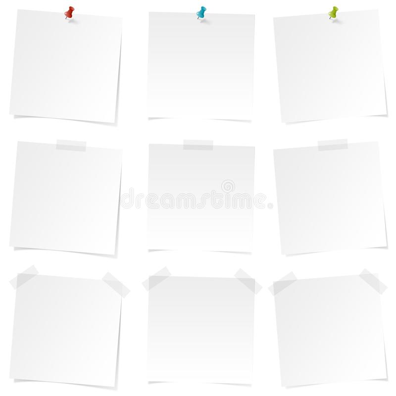 Autocollants simples blancs - ensemble d'autocollants - notes - noteboard - rappel - pour faire la liste illustration de vecteur