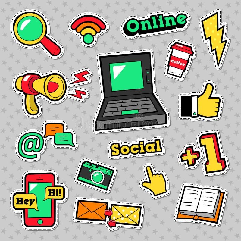Autocollants sociaux de technologie de réseau illustration de vecteur