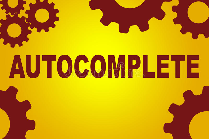 Autocomplete technical concept. Autocomplete sign concept illustration with red gear wheel figures on yellow background royalty free illustration