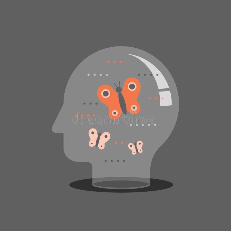 Autoconsapevolezza e consapevolezza, concetto di psicoterapia, benessere mentale, empatia ritenente, pratica di meditazione royalty illustrazione gratis