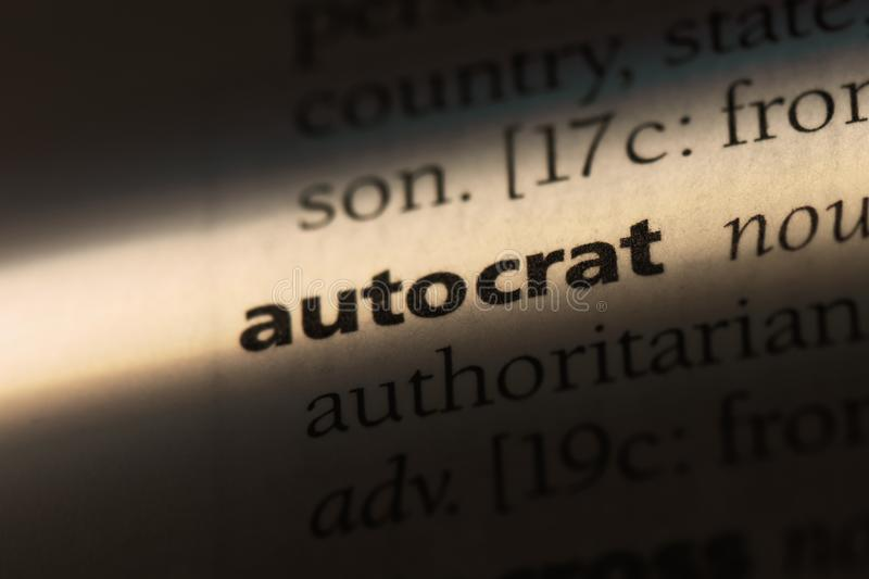 Autocrat. Word in a dictionary.  concept royalty free stock photography