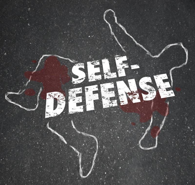 A autodefesa exprime o corpo do esboço do giz que defende-se ataque ilustração royalty free