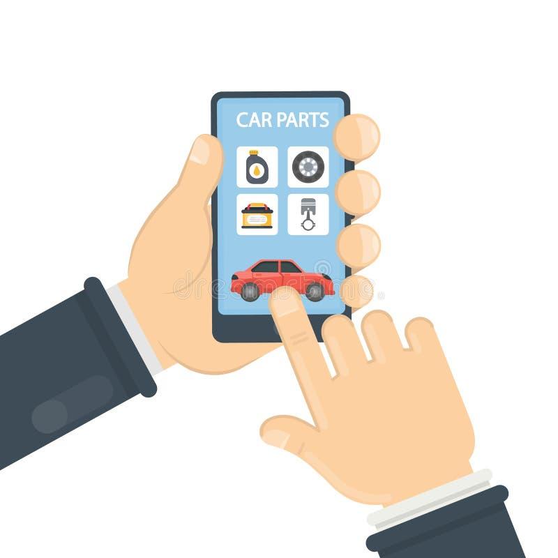 Autodelen app royalty-vrije illustratie