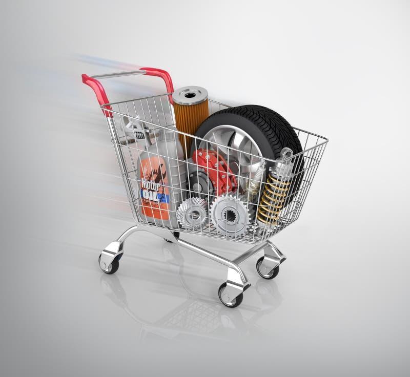 Autodelen in het karretje Autodelenopslag Automobielmand s royalty-vrije stock foto's