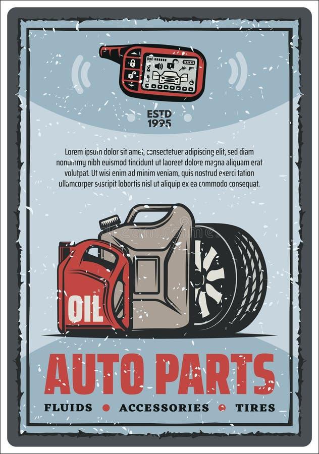 Autodelenwinkel en de uitstekende affiche van de bandopslag vector illustratie