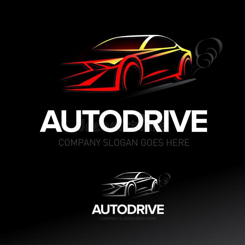 'Autodrive 'billogotyp - bilservice och reparation, vektoruppsättning arkivfoto