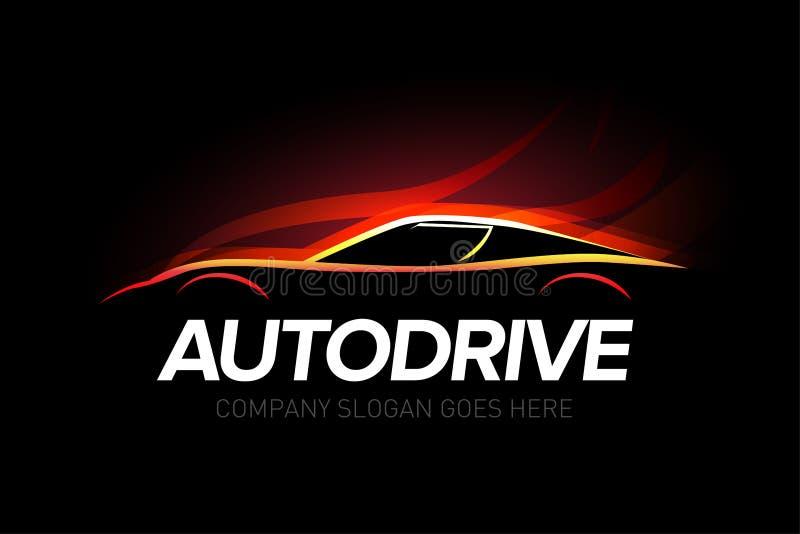 'Autodrive 'billogotyp med service för brandbakgrundsbil och reparationen, vektor arkivfoton