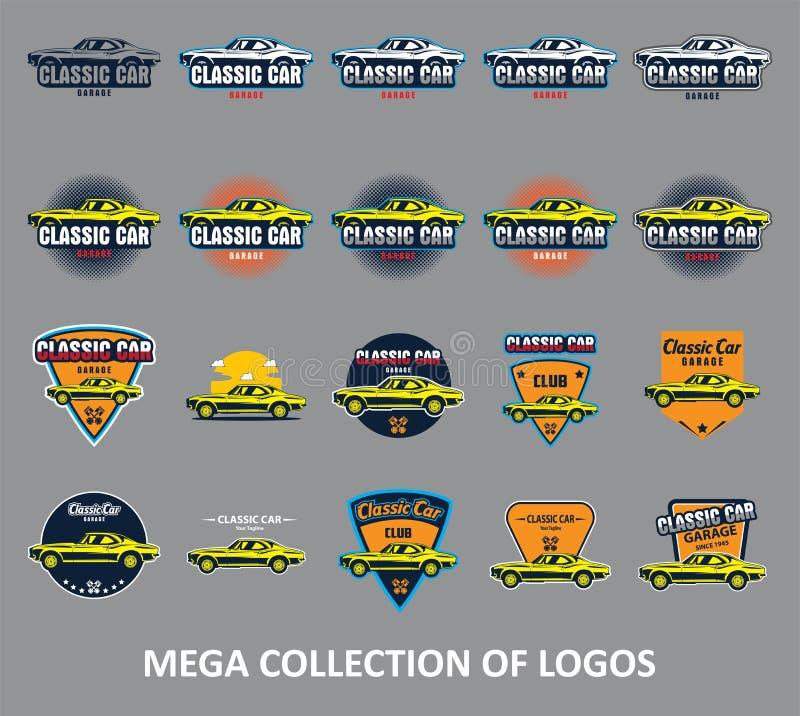 Autoemblemen Klassiek autoembleem Reeks van 20 autokentekens voor uw zaken Moderne ontwerpsjablonen voor automobiel royalty-vrije illustratie
