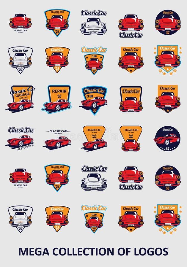 Autoemblemen Reeks van 30 autokentekens voor uw zaken Moderne ontwerpsjablonen voor automobiel vector illustratie
