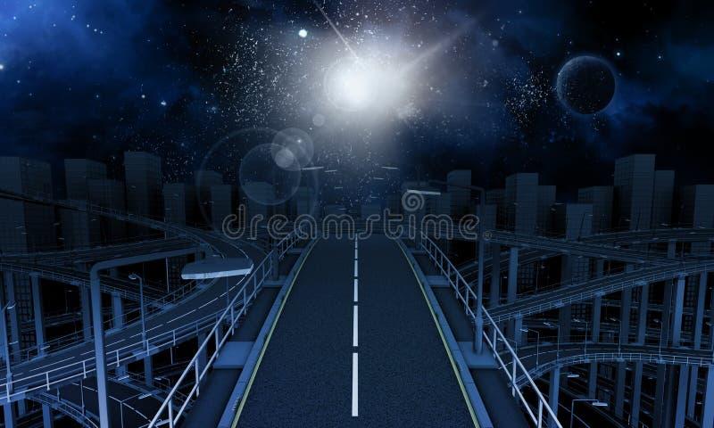 Autoestrada na cidade com céu do espaço ilustração do vetor