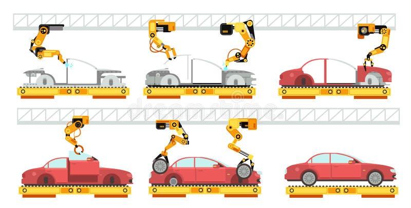 Autofabriek Robotachtige automobiellopende band met auto's Transportband voor autoassemblage vector productieconcept royalty-vrije illustratie