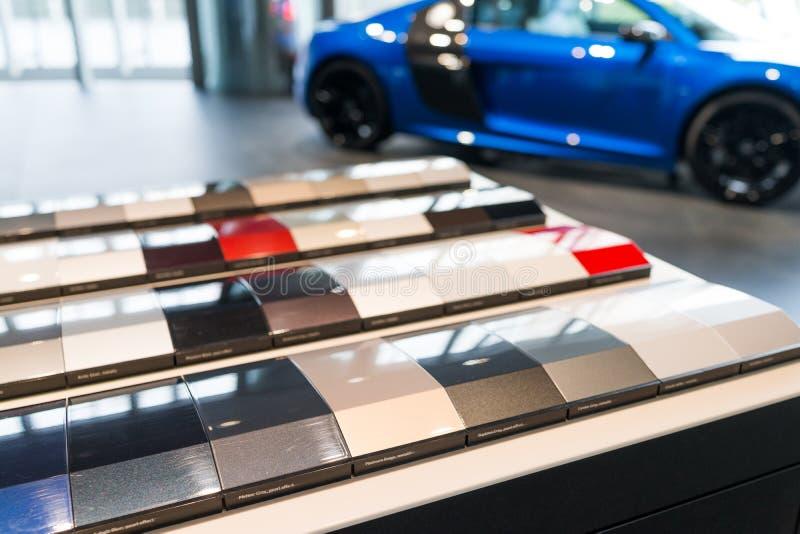 Autofarbenproben stockbilder