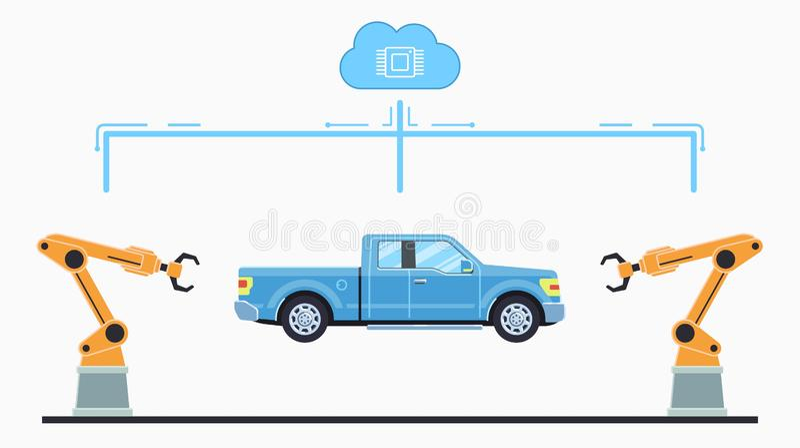 Autofertigungsstra?ekonzept Selbstmontageband stockbilder