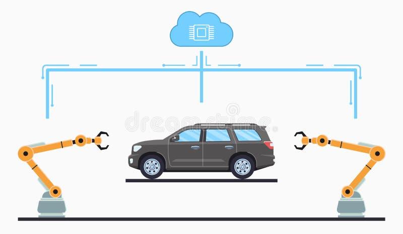 Autofertigungsstra?ekonzept Selbstmontageband lizenzfreie stockfotografie