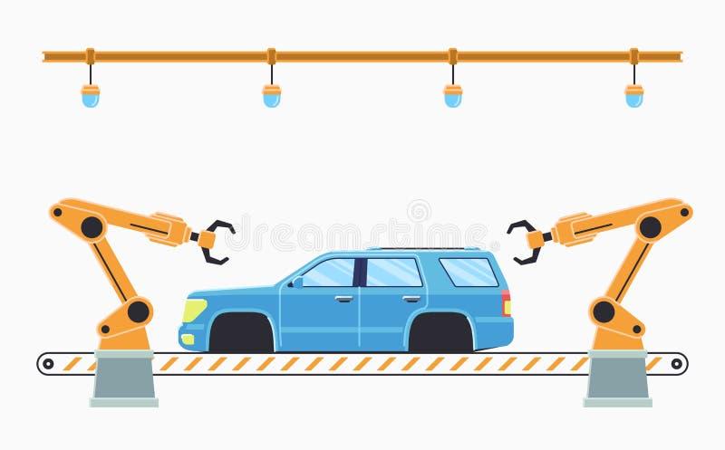 Autofertigungsstra?ekonzept Selbstmontageband lizenzfreies stockbild