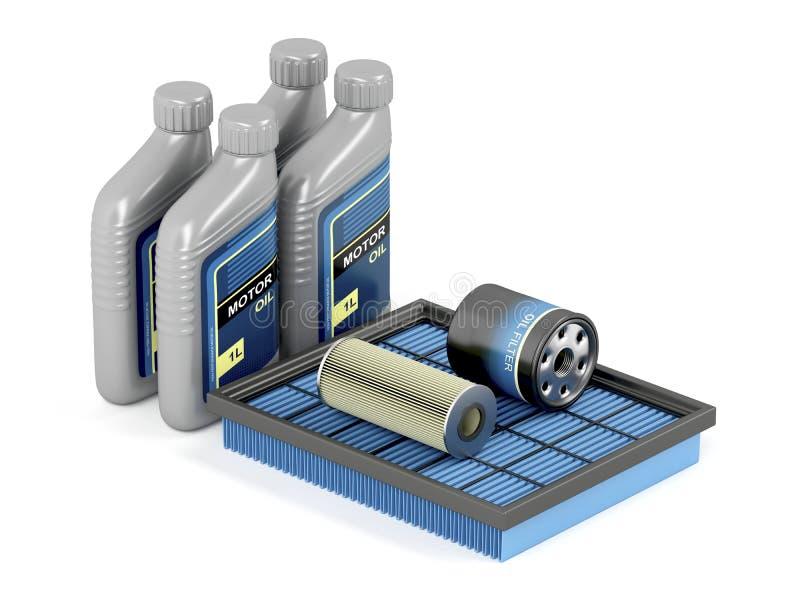 Autofilter und -Motorenöl lizenzfreie abbildung