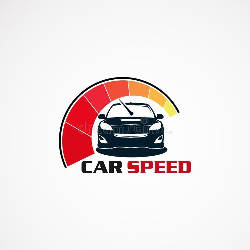 Autogeschwindigkeit mit modernem Notenlogovektor, -ikone, -element und -schablone für Geschäft vektor abbildung