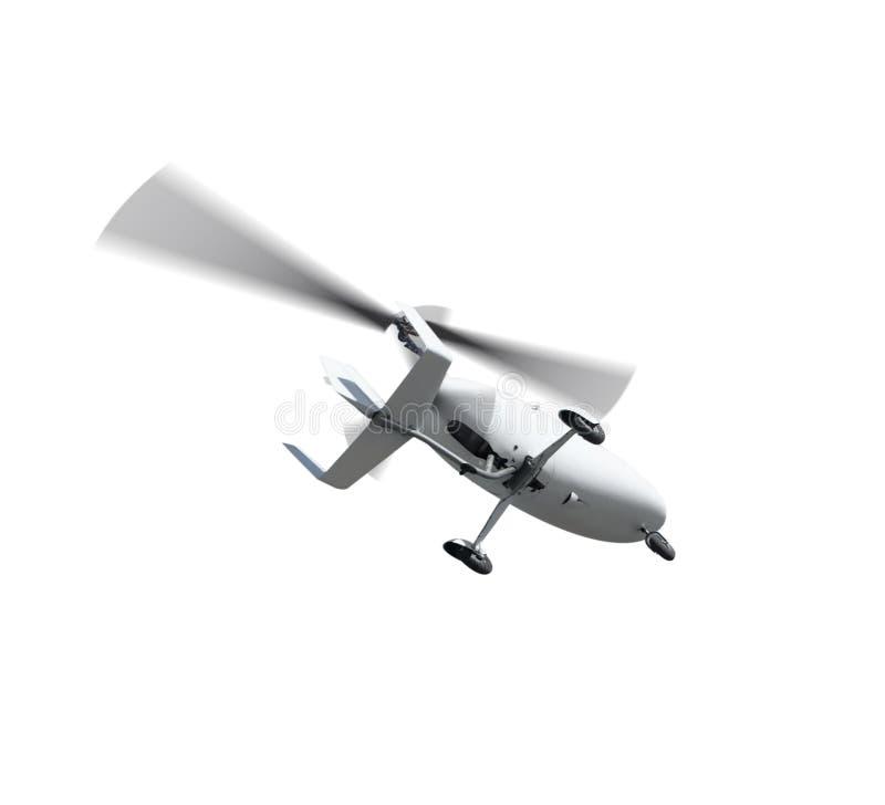 Autogiro i flykten med roterande propellrar royaltyfri bild