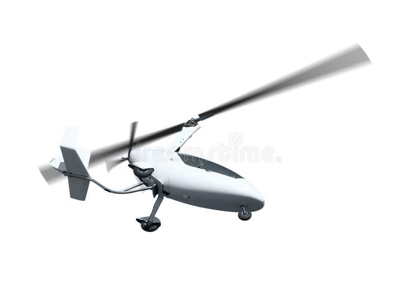 Autogiro i flykten med roterande propellrar royaltyfria foton