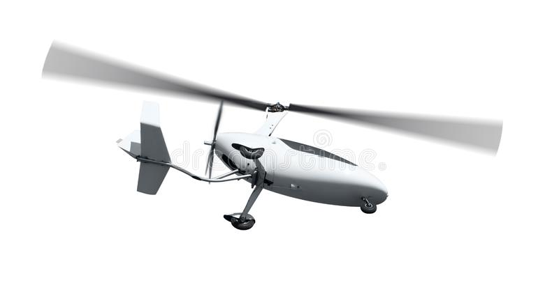 Autogiro i flykten med roterande propellrar arkivfoto