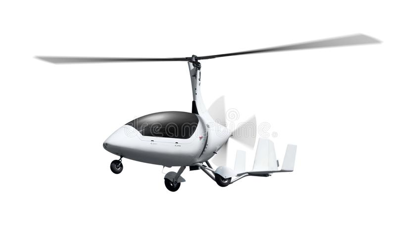 Autogiro i flykten med roterande propellrar arkivbild